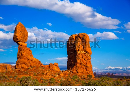 Arches National Park Balanced Rock in Moab Utah USA - stock photo