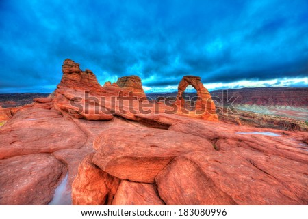 Arches National Park Delicate Arch in Moab Utah USA - stock photo