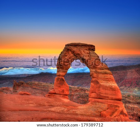 Arches National Park Delicate Arch sea of clouds in Moab Utah USA photo mount - stock photo