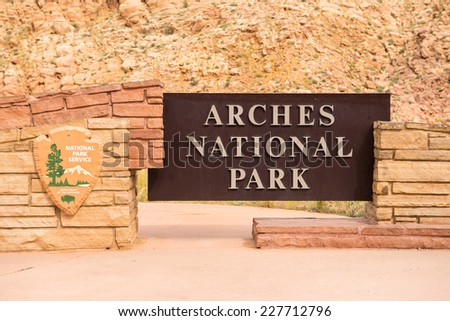 Arches National Park Entrance Sign, Utah, USA - stock photo
