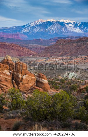 Arches National Park scenic landscape view red rock - stock photo