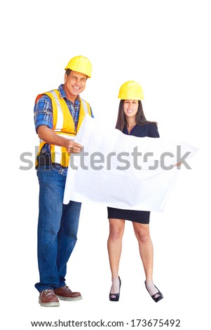 Architect and foreman reviewing blueprint together at construction site, isolated on white background, isolated on white, white background. - stock photo