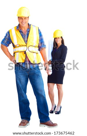 Architect and foreman together at construction site. Vertical Shot, isolated on white background, isolated on white, white background. - stock photo