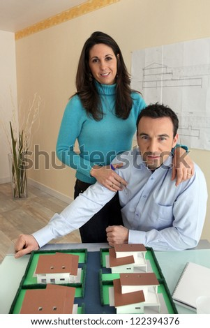 Architect and his wife - stock photo