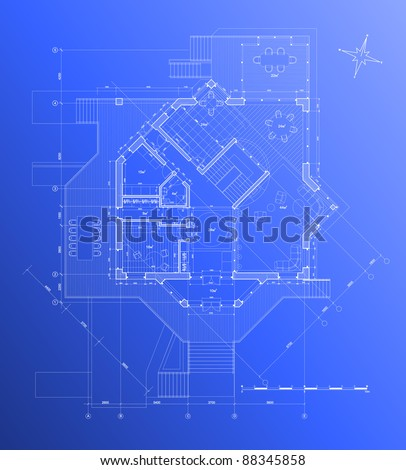 Architect blueprint. Bitmap copy my vector - stock photo