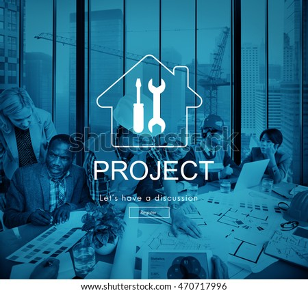 Architect Blueprint Discussion Engineer Project Office Concept
