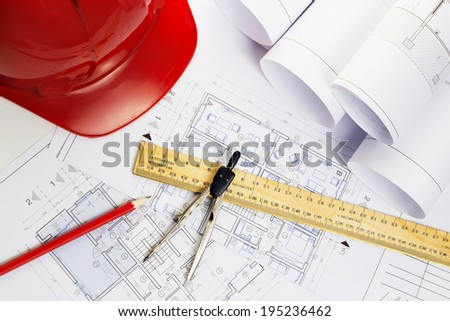 architect blueprints equipment objects workplace paper office - stock photo