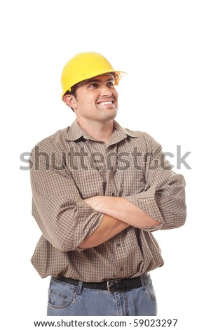 Architect builder excitedly looking toward copy space - stock photo
