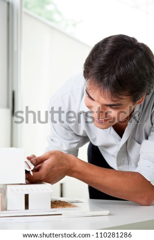 Architect building a rough house study model . - stock photo