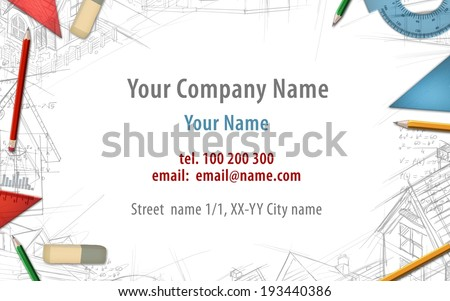architect constructor designer builder business card background illustration