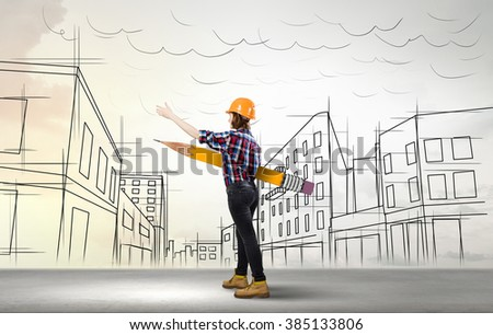 Architect designer and her project - stock photo