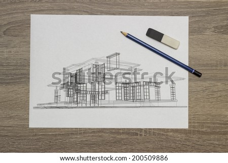 architect drawing - stock photo