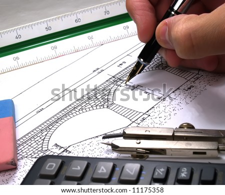 architect drawing a bridge