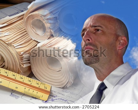 Architect Dreaming Up a Design - stock photo