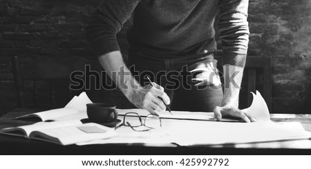 Architect Engineer Draft Blueprint Plan Design Concept