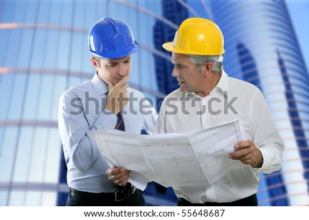 architect engineer two expertise team plan talking hardhat skyscraper buildings [Photo Illustration]