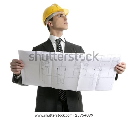 Architect executive business people with plans with hard hat - stock photo