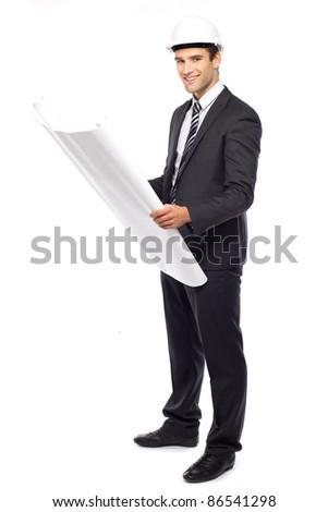 Architect in hardhat, holding blueprints - stock photo