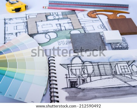 Architect /interior sketch drawing for  new home renovation project with material - stock photo