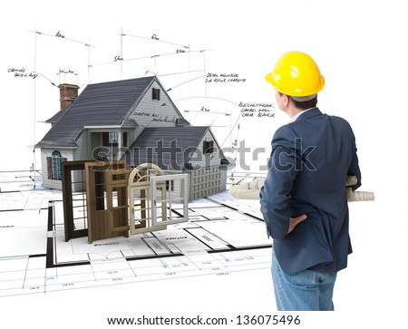Architect looking at a House on blueprints with a choice of windows and doors - stock photo