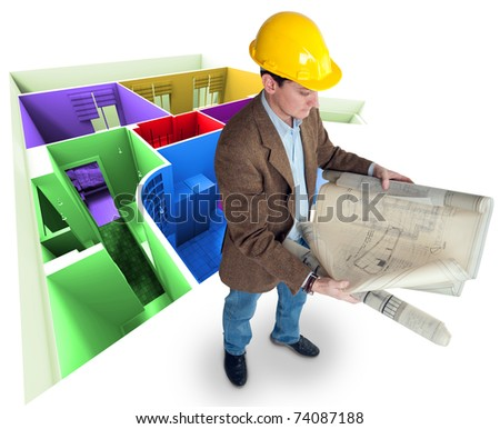Architect looking at his plans with a roofless colorful apartment - stock photo
