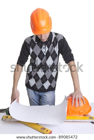 Architect looking on a blueprints