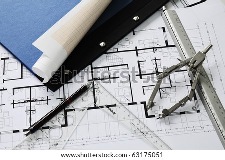 Architect S Desk During Work With Tools