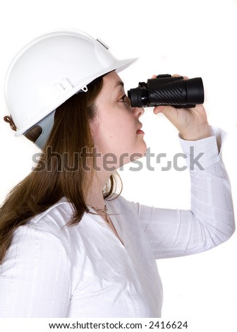 architect searching with binoculars over a white background