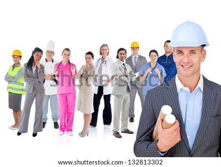 Architect standing in front of different types of workers on white background