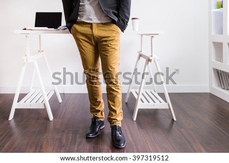 Architect standing in front of his. Depth of field, selective focus  - stock photo