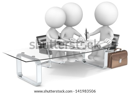 Architect. The Dude and wife discussing house plans with Architect. - stock photo