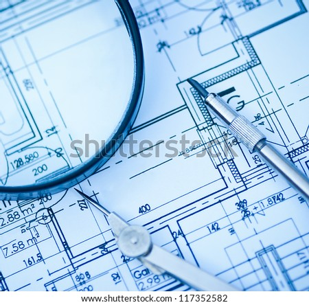 architect tools and drawings - stock photo