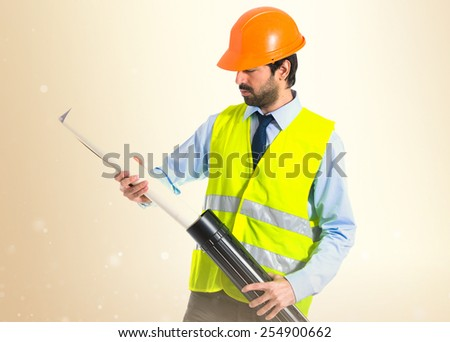 architect with plan  - stock photo
