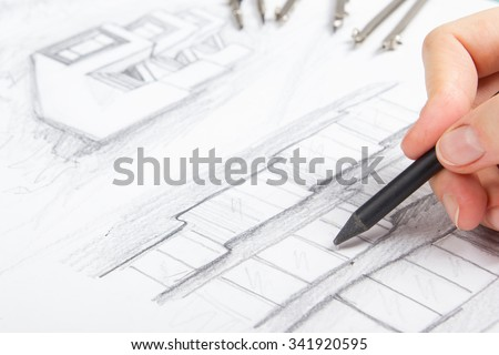 Architect working on blueprint architects workplace stock photo architect working on blueprint architects workplace architectural project plan drawing sketch malvernweather Image collections