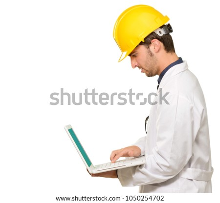 Architect Working On Laptop Isolated On White Background