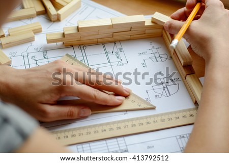 Architect workplace - architectural project, blueprints, ruler. Construction concept. Engineering tools.  - stock photo