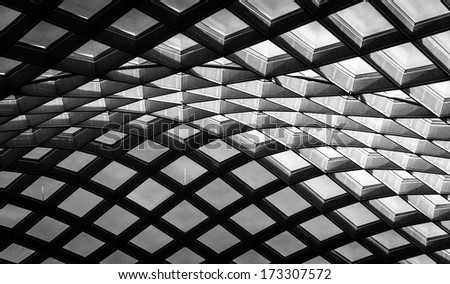 Architectural abstract taken of the ceiling at  the Kogod Courtyard at the National Portrait Gallery in Washington, DC. - stock photo