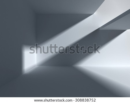 Architectural abstraction with falling light. 3d empty apartment render - stock photo