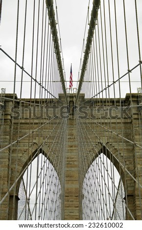 Architectural and technical details of Brooklyn Bridge, NYC.