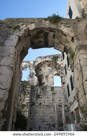 architectural arches of the old town of split, Crovatia - stock photo