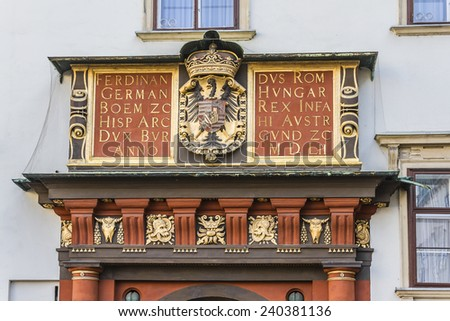 Architectural artistic decorations on Hofburg palace, Vienna; Austria. Hofburg was residence of Habsburg dynasty, rulers of Austro-Hungarian Empire. - stock photo