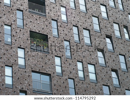 architectural background of a modern apartment building in groningen, netherlands - stock photo