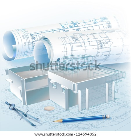 Architectural background. Part of architectural project - Raster version - stock photo