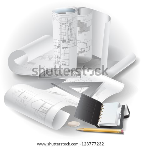 Architectural background with drawing tools and rolls of drawings - Raster version. - stock photo