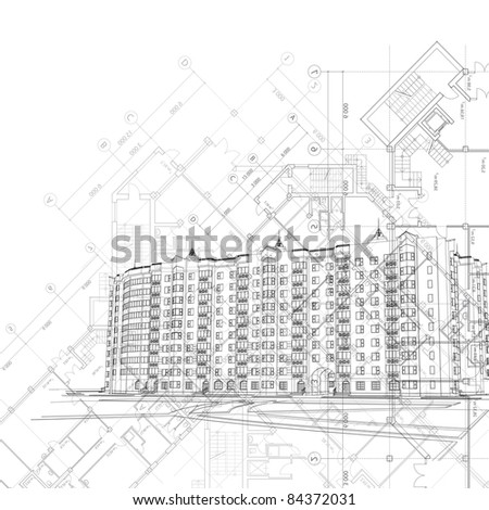 Architectural black and white background (see eps version in my portfolio) - stock photo