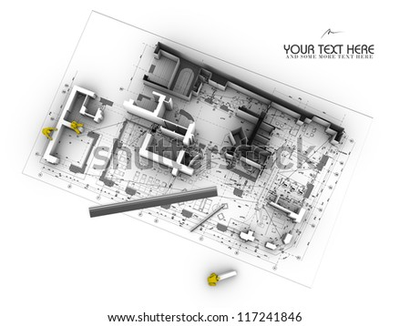 architectural blueprint - abstract construction site - stock photo