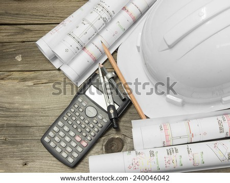 Architectural blueprint of office building with a pencils. Architectural blueprint for construction. construction, industry concept