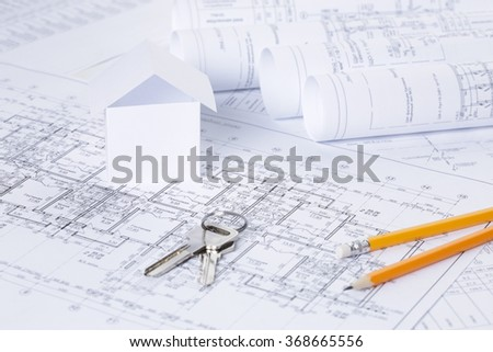 Architectural blueprints - stock photo
