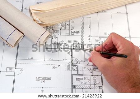 Architectural blueprints of new homes and communities - stock photo