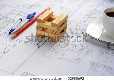 Architectural blueprints on the worktable. Business and construction concept. - stock photo